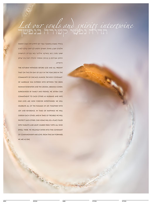 The Falling Leaf Ketubah: a fine art ketubah created by Daniel Sroka of ModernKetubah.com for couples of all faiths and cultures.
