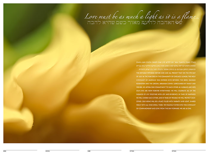 The Sunflower Ketubah: a fine art ketubah created by Daniel Sroka of ModernKetubah.com for couples of all faiths and cultures.