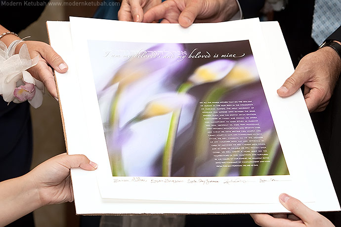 Marissa and Bryan's African Lily Ketubah by Modern Ketubah. Photo by Christina Frances Photography.