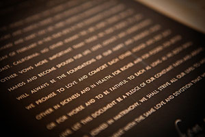 Modern Ketubah closeup of text